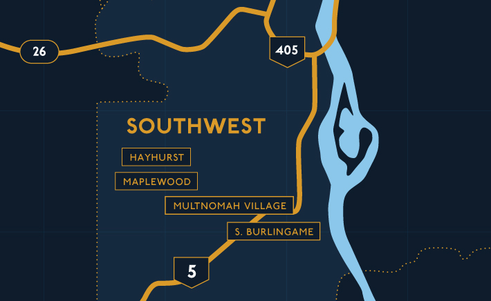 Southwest Portland Map